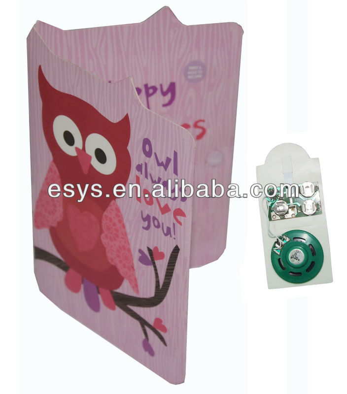 Promotion sound paper greeting card with musical recording for gift