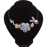 Korea and Japan Style Flower Shape Fabrics Material Handmade Fashion jewelry Choker Necklace