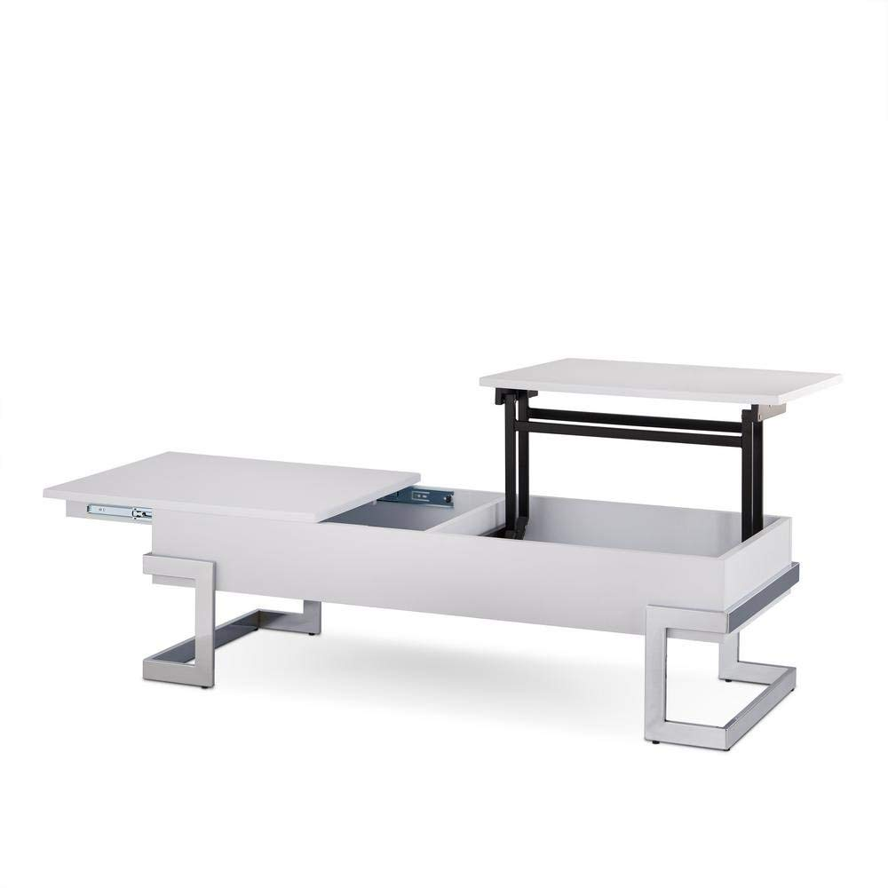 Major-Q Convertible Lift Top and Sliding Top Coffee Table In Gloss White (MQ-81850)