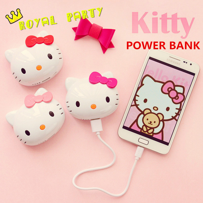 New Fashion Hello kitty Cartoon cute 6500mAh Power Bank External Universal Battery Charger Powerbank For Iphone