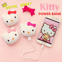 6500mAh USB diamond Hello Kitty Cat Cartoon Portable Battery Charger Power Bank For iPhone 6 5s 6plus for Samsung all phones