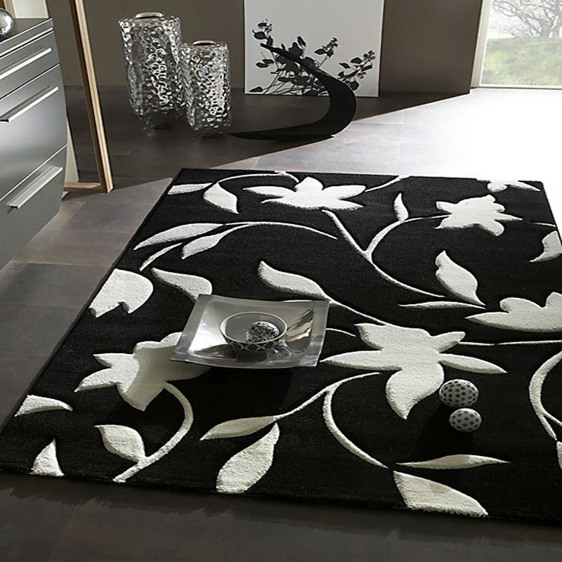 handmade black and white area rug