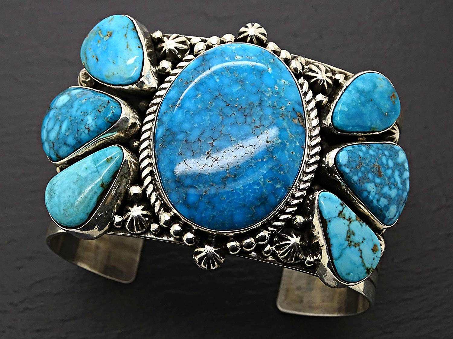 big mens cuff turquoise silver, Native American Pueblo cuff bracelet Royston turquoise cuff, large turquoise cuff bracelet silver