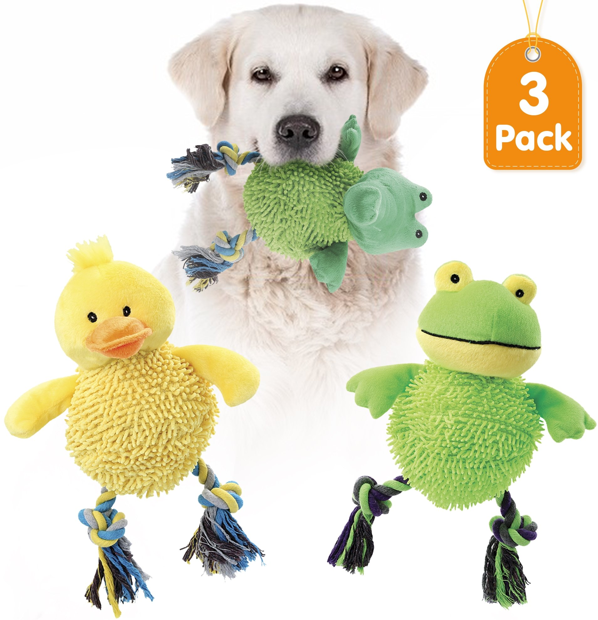 KLEEGER Laughing Large Plush Dog Toy: Tough Puppy Chew/Teething/Tug Of War Toy That Chuckles When Shaken (Set Of 3)