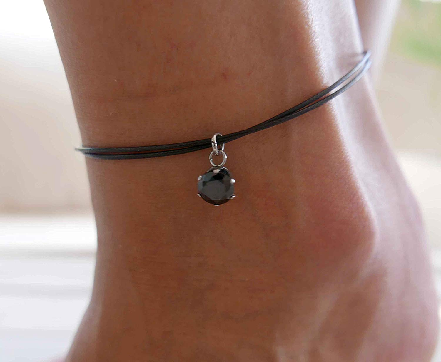 Handmade Black Anklet For Women Set With Black Zircon By Galis Jewelry - Black Ankle Bracelet For Women - Beaded Anklet