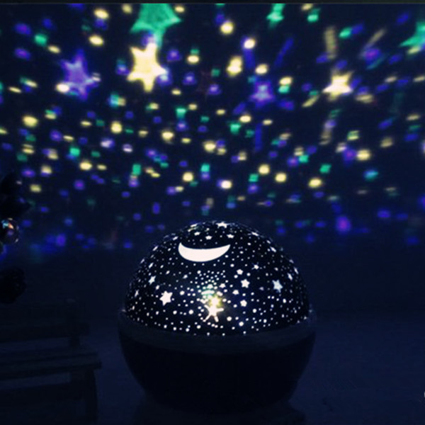 New USB Laser LED Romantic Rotary Sky Stars Cosmos Star Projector Lamp Moon Stars 360 Rotating Round Night Light