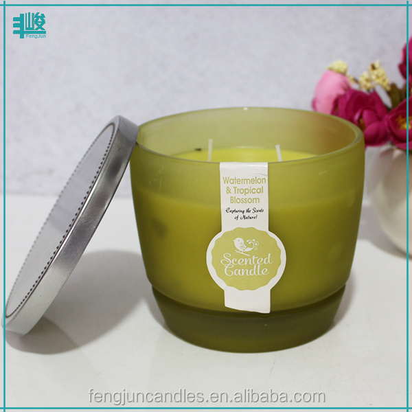 FJ-GB101M wholesale clear green scented gel wax glass candle