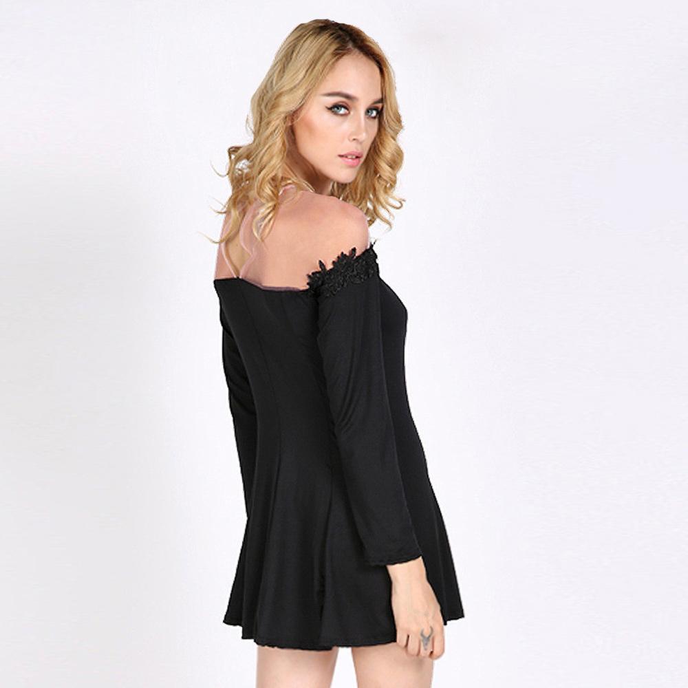 dc515cba2a3 Get Quotations · 2015 Sexy Women Mini Dress Crochet Lace Sheer Mesh Shoulder  Patchwork Zip Back Slash Neck Long
