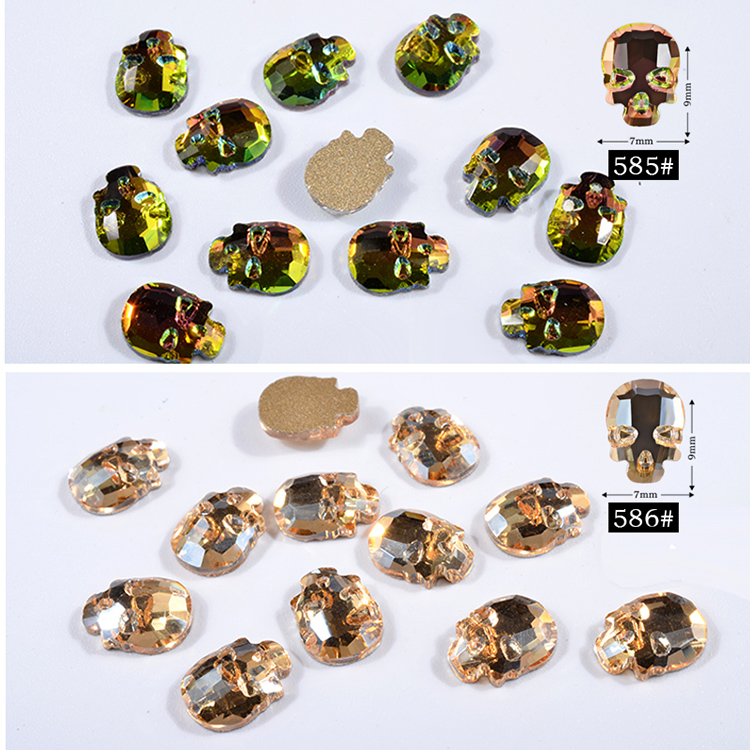 Halloween Charm Skull Stone AB Crystal Flat-Back 3D Nail Art Design DIY Nail Crystal Drill Stones Nail Art Decoration Supplier