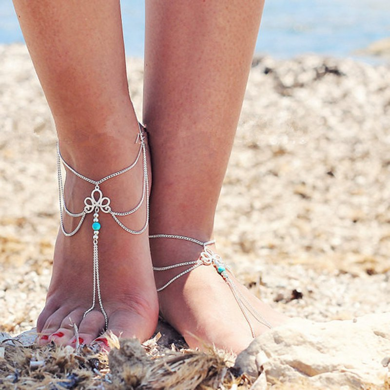 Artilady decorative chain jewelry fashion retro hollow pattern Turquoise Beaded tassels Fingerless Anklet for female beach