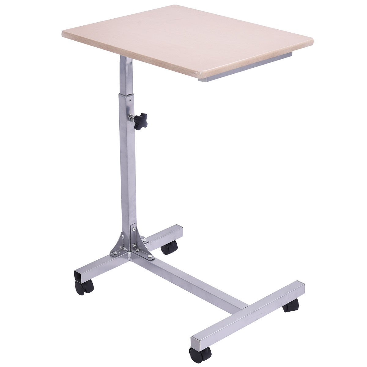 Tangkula Laptop Desk Overbed Table, Mobile Desk Cart, Laptop Stand Cart Computer Desk with Smooth Casters, Mobile Lap Workstation Notebook Cart