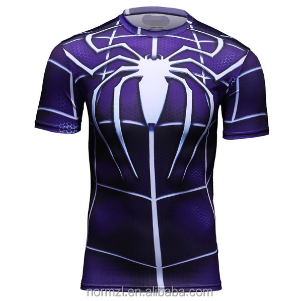 high quality Men's T-shirt Superhero Compression T Shirt male Fitness Tights Under Tops