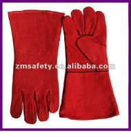 Red safety cow split leather welding gloves for welders working ZMR107