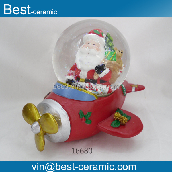 Unique design resin airplane base with inside santa claus crystal snow globe water ball