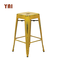 Luxury French High Outdoor Garden Brass Steel Used Commercial Furniture Stackable Industrial Metal Bar Stool