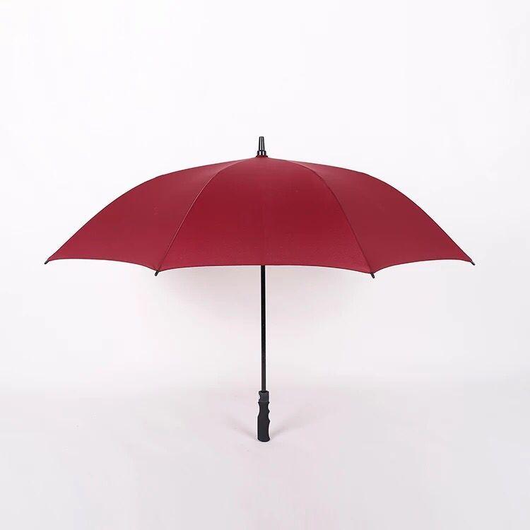 Promotional auto golf umbrella golf cart rear seat black plastic tips windproof auto open straight umbrella parasol for sale