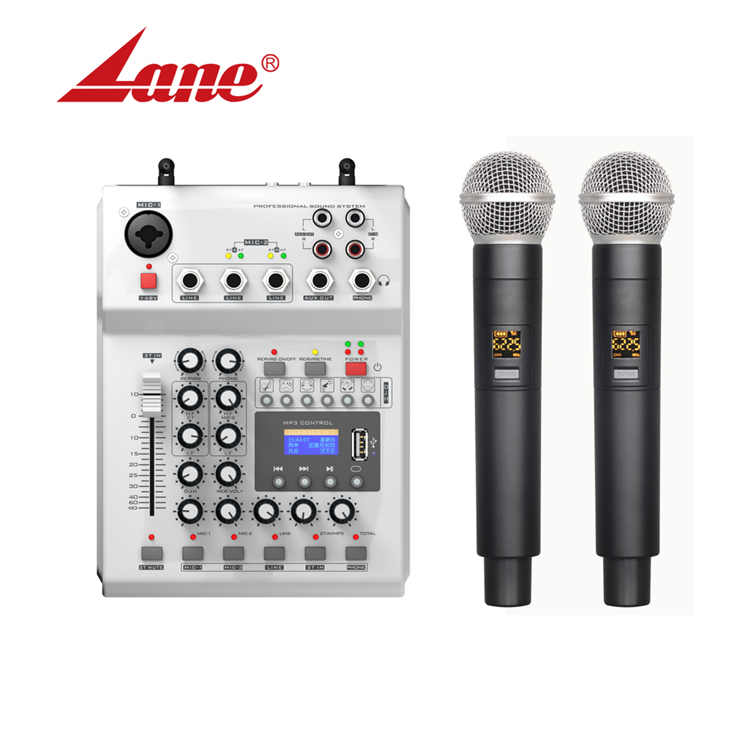 The Newest 2 Channel USB Multi-functional Lane Audio Mixer Karaoke Mini Mixer Wireless Handheld Microphone