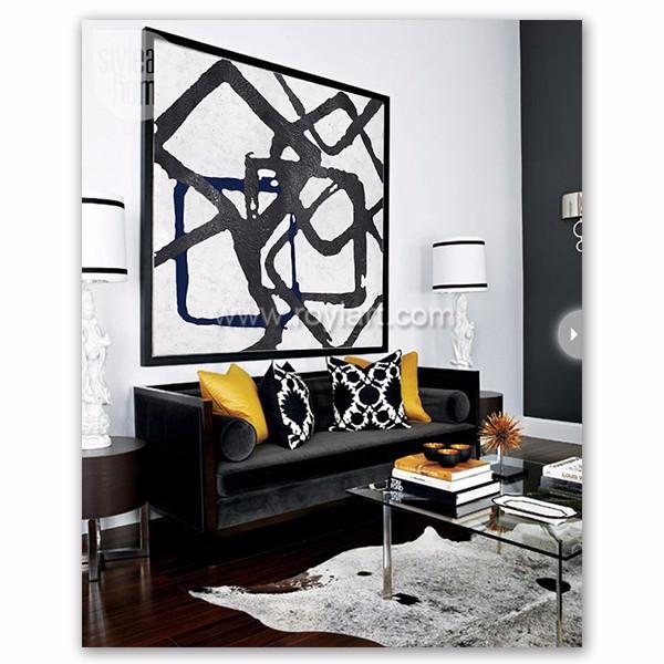 Wonderbaarlijk Handmade Black White Abstract Painting Extra Large Canvas Art DP-62