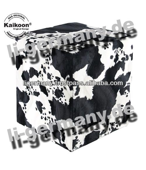 Kubus kruk koeienhuid imitatie zwarte witte hoge kwaliteit ottoman stoelen en voetenbankjes for Kubusgordijnen