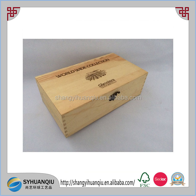 2 bottles wooden wine box with custom printing wooden wine case
