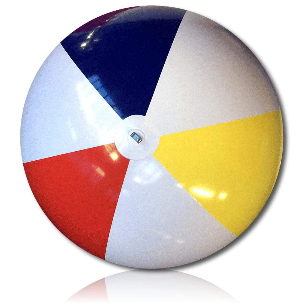 ULTRA Durable & Custom {6' Feet} 1 Single of XXLarge-Size Inflatable Beach Ball for Summer Fun, Made of Lightweight FLEX-Resin Plastic w/ Retro Thick Alternating Solid Wedge Stripes Style {Multicolor}