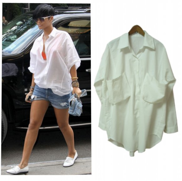 46586c8ae Boyfriend Fit Oversized Loose Shirts Button Down Blouse Top - Buy ...
