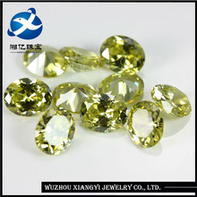 Alibaba supplier machine cut CZ stones,olive yellow color oval shaped loose Cubic Zirconia importers in China