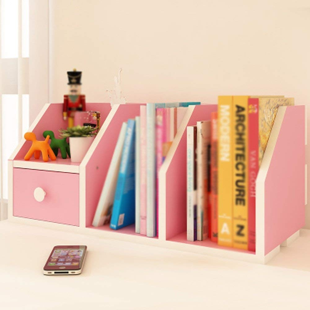LQQGXL Storage and organization Small Bookshelf Simple Rack Kids Room Living Room Bookcase Economy Dormitory Storage Shelves (60x24x24cm) (Color : Pink)