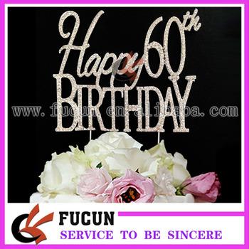 Prime Happy 60Th Birthday Anniversary Sparkling Rhinestones Cake Topper Funny Birthday Cards Online Alyptdamsfinfo
