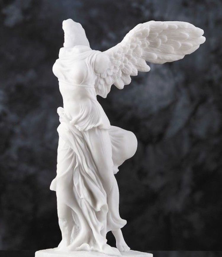 Antique greek winged victory marble statue