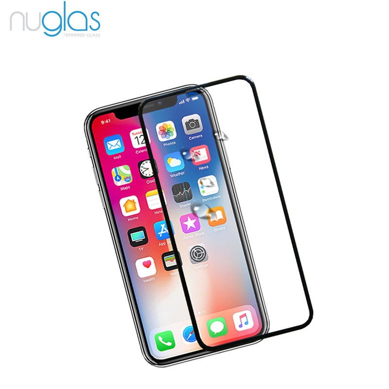 Nuglas 0,33mm ultra dünne anti shock display-schutzfolie für iPhone X/XS 5D screen protector