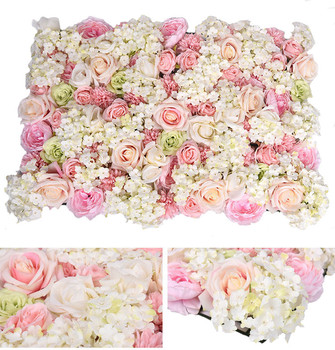 40 X 60cm Artificial Silk Flower Wall Rose Hydrangea Peony Flower Wall Decoration Wedding Stage Hotel Background Home