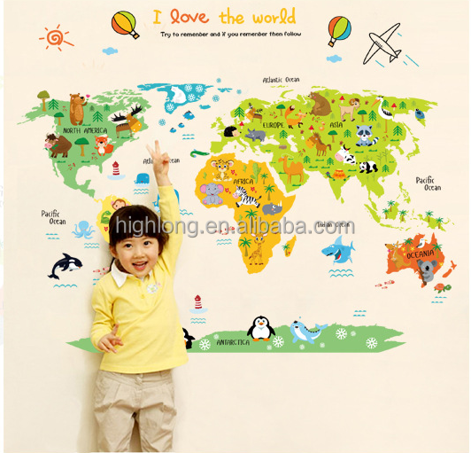 PVC World Map Wall Art Sticker My world For your Love for kids room eco-friendly