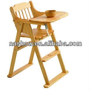 Nueva plegable beb de madera silla alta buy beb silla for Silla de bebe de madera