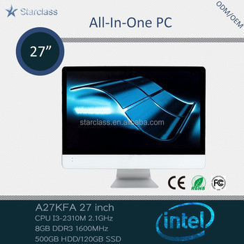 Popular China factory price 27 inch i3 2310m 8GB Memory 500gb HDD all in one pc led tv smart computer