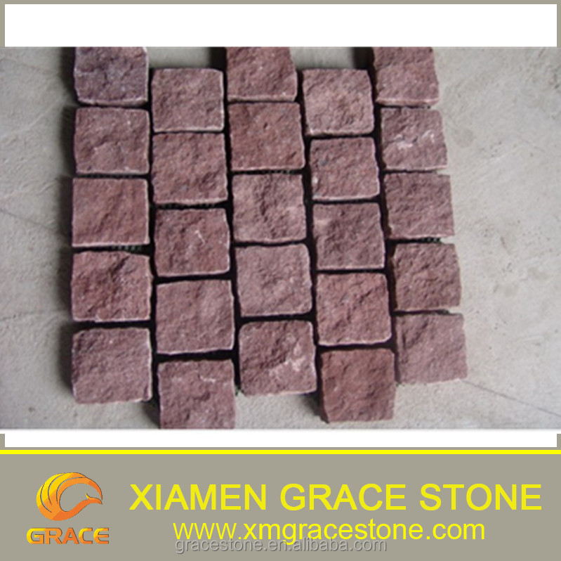 Natural Dayang Red Outdoor Paving Stone , Cheap China Porphyry Red Cubic Stone
