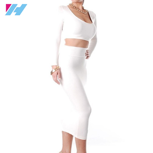 Yihao New Spring Outfits White Women Sexy Two Piece Knee Length Pencil Party Night Club Bandage Bodycon Dress