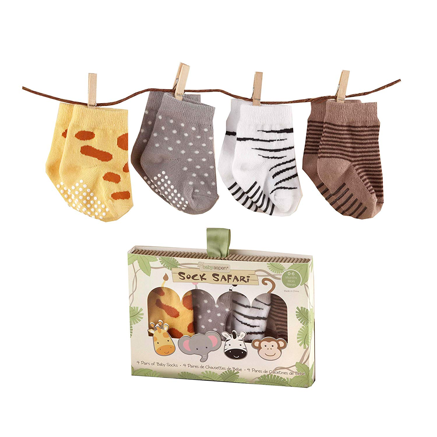Baby Aspen, Sock Safari Four-Pair Animal-Themed Socks Set, 0-6 Months