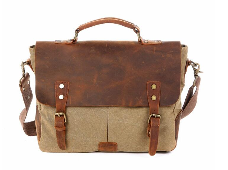 "New Arrival Droppshiping 14"" Laptop Bags for Teenagers, Vintage Leather Canvas bag, Document Canvas Messenger bag With Leather"