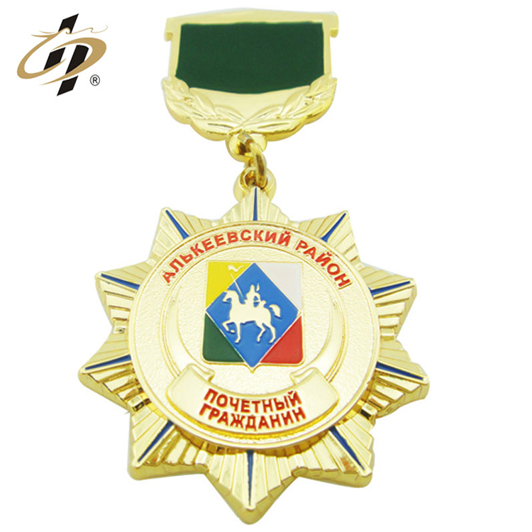Custom made gold round enamel metal military honor medal with badge plate