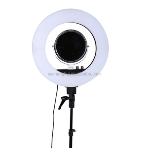 18'' Dimmable LED Ring Light with light stand for making up, youtube videos with ballhead, phone holder & diffuser clot