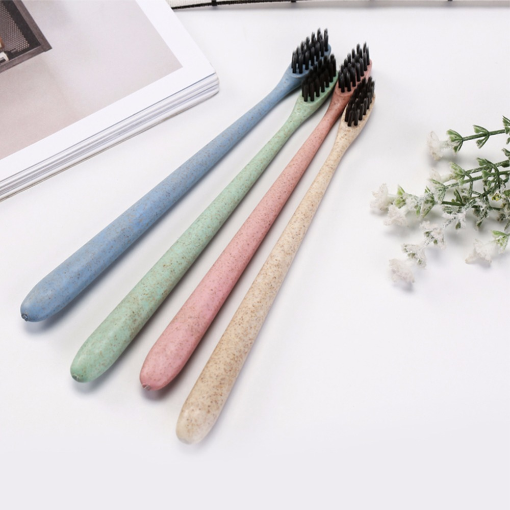 Environmentally Friendly Bamboo Charcoal Soft Hair Oral Cleaning Wheat Straw Toothbrush