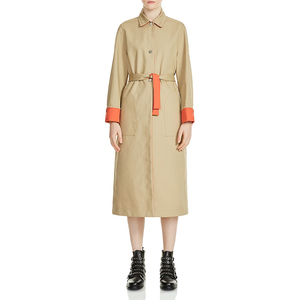 OEM Custom Long Contrast-Trim Trench Coat Ladies Winter Coats