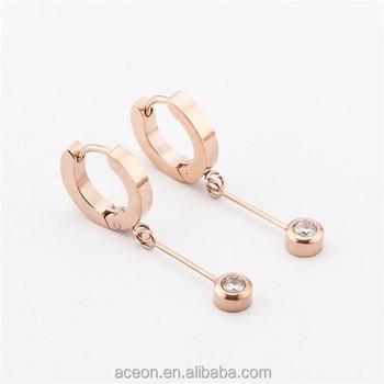 Yiwu Aceon Cz Diamond Hoop Earrings Solitaire Dangle Fashion Steel