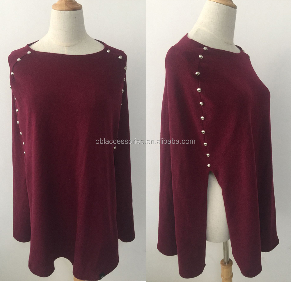 Classic and fashion cashmere-like fabric shawl with metal studs shawl scarf manufacturers