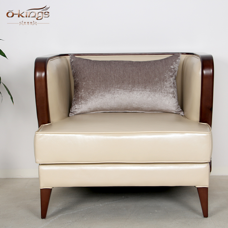 Modern hotel hall living room furniture leather single sofa