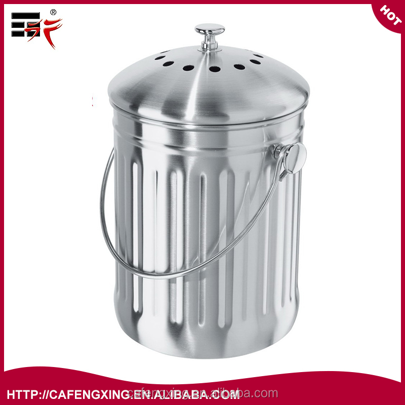 Fengxing 1 Gallon organic Stainless Steel Kitchen Compost Bin & Free Odor Absorbing Filter