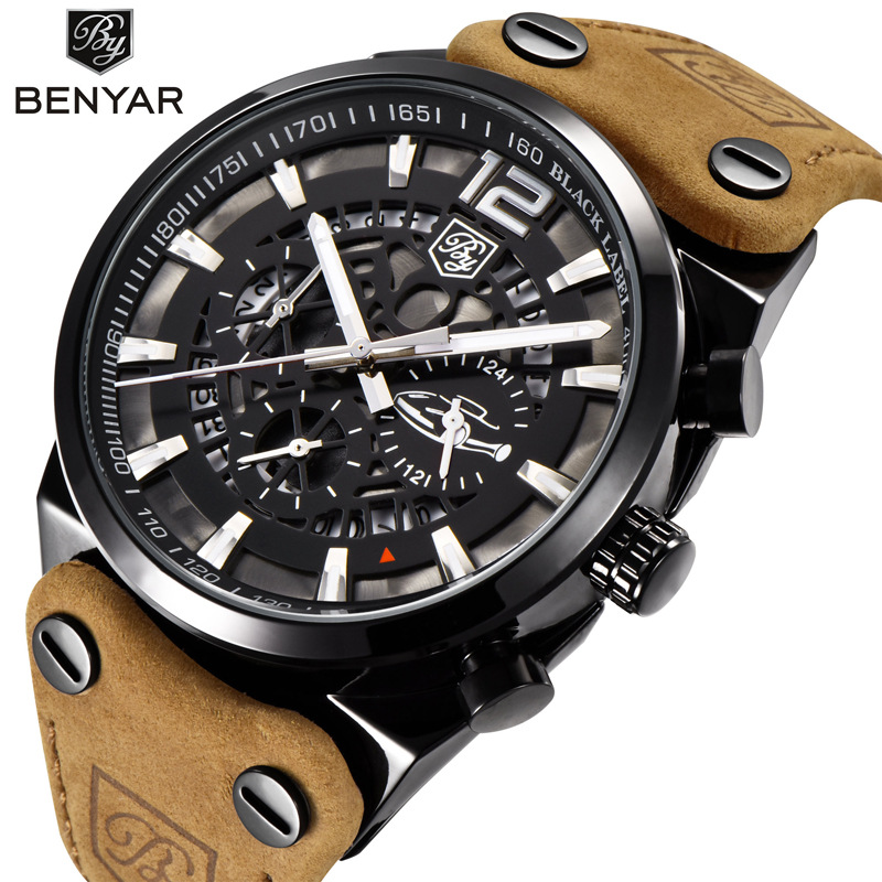 BENYAR Large dial design Chronograph Sport Mens Watches Fashion Brand Military Waterproof Quartz Watch Clock Relogio Masculino фото