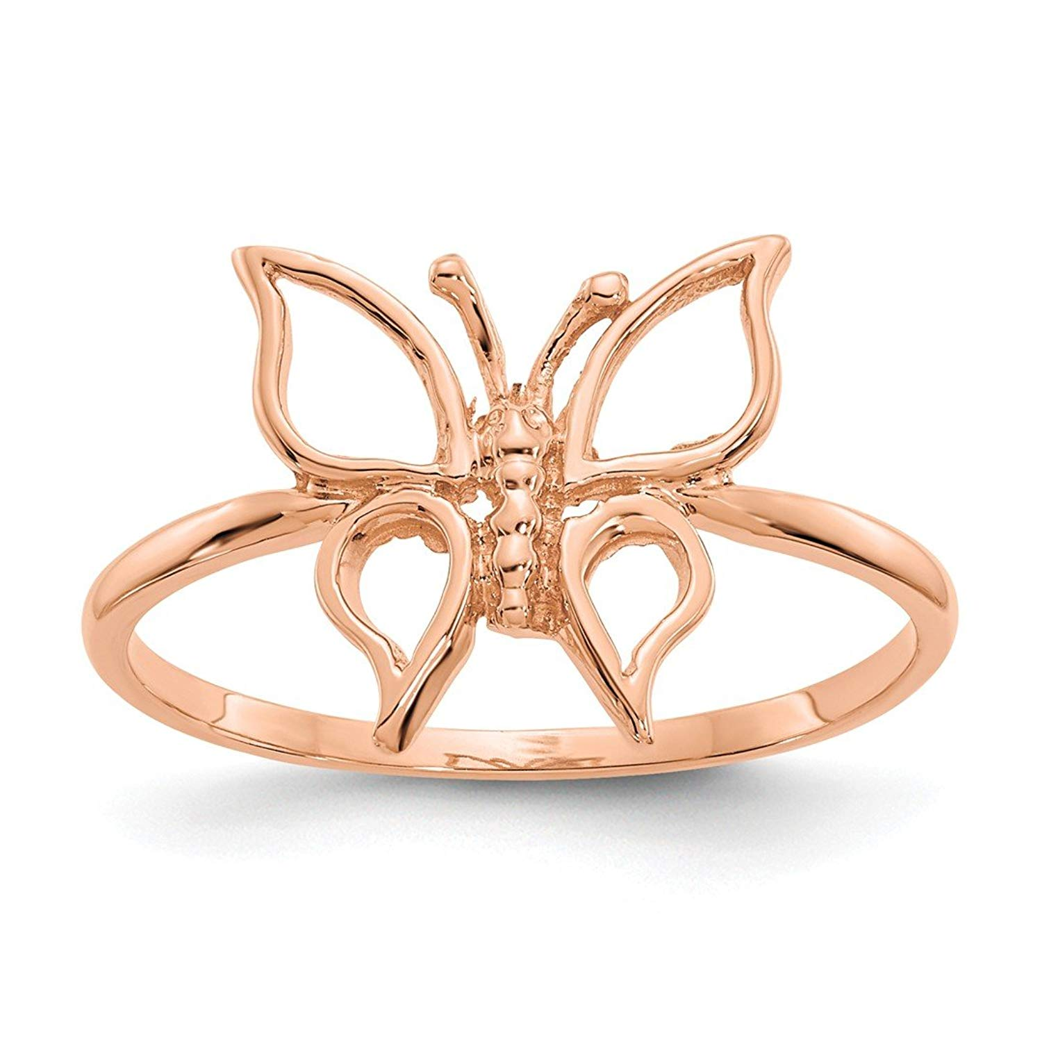 ICE CARATS 14kt Rose Gold Butterfly Band Ring Fine Jewelry Ideal Gifts For Women Gift Set From Heart