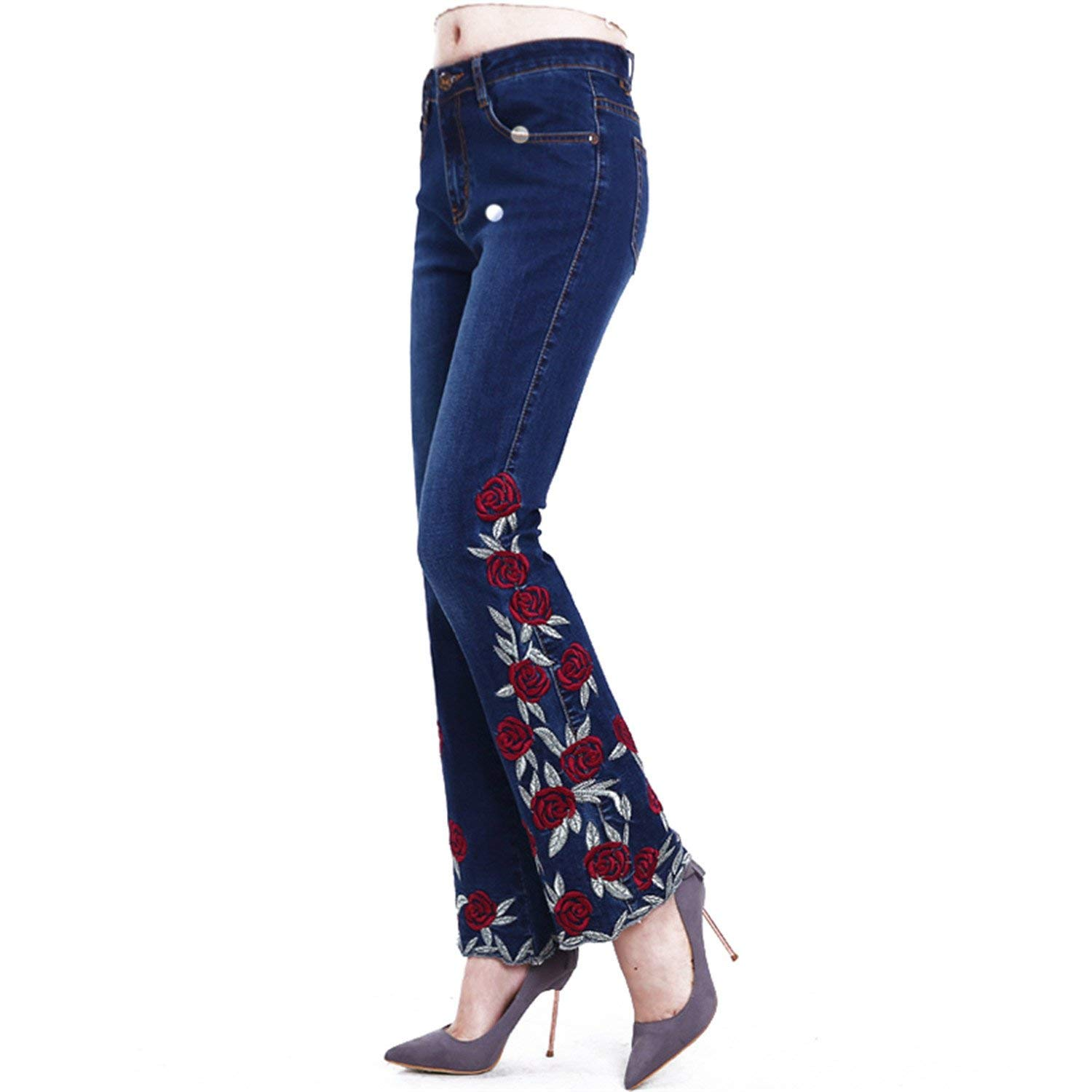 770a961052 Get Quotations · Vilma Reynoso Woman Jeans Bell Bottom Jeans Embroidered  High Stretch Flared Pants Flowers Embroidery Blue Jeans